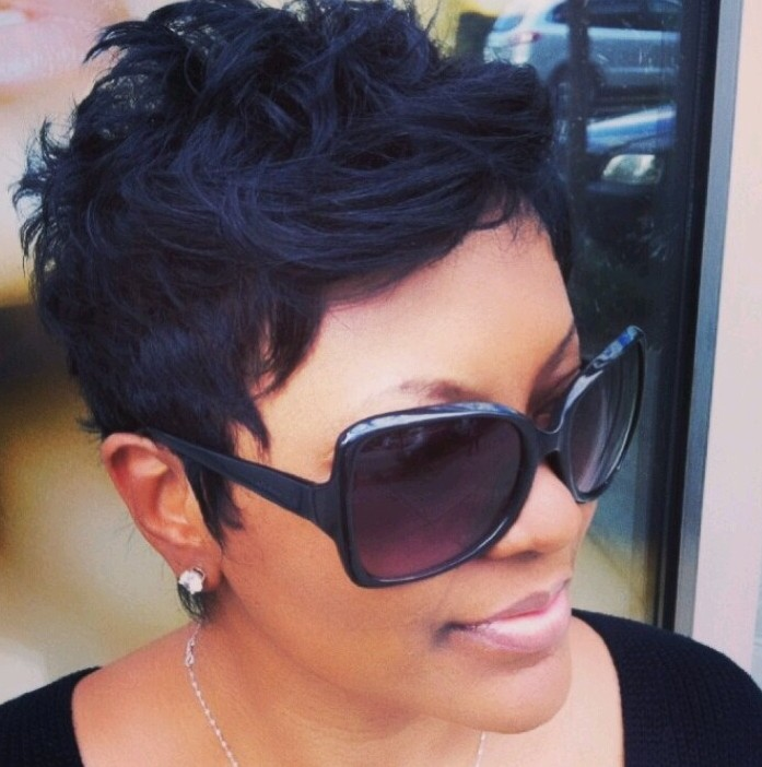 Short black hairstyle for the summer