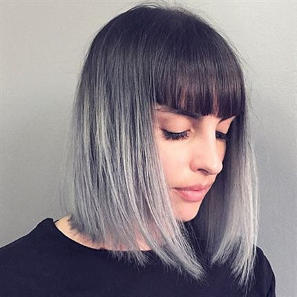 short straight ombre bob hairstyle with dull bangs