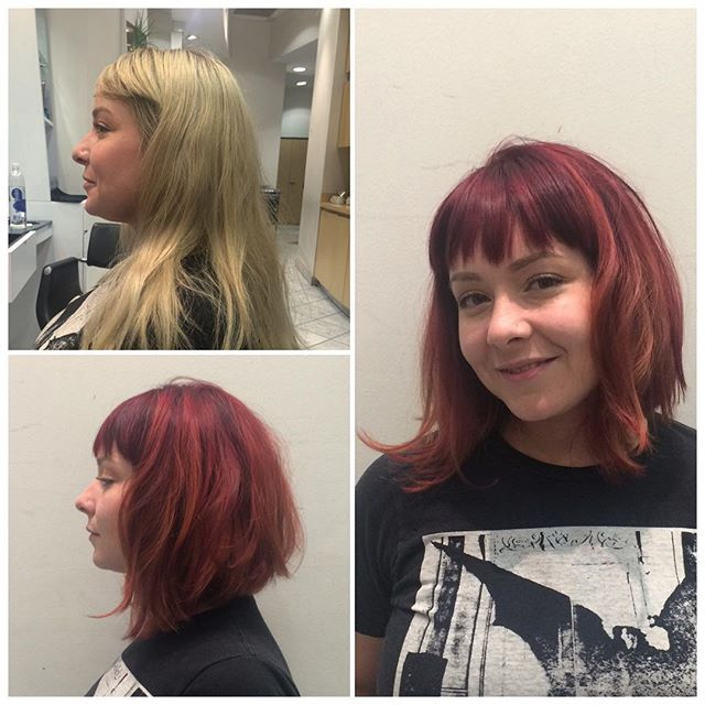 textured chaotic a-line bob hairstyle with bangs for medium-length hair