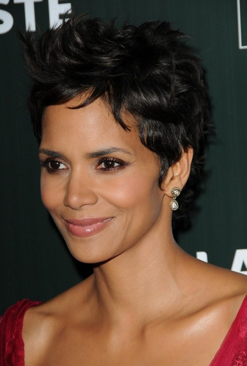 Celebrity Halle Berry short black hairstyles