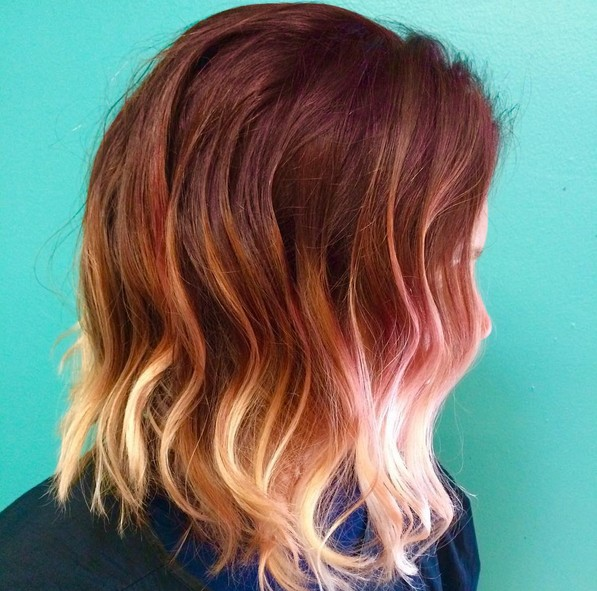 layered red to blonde ombre wavy bob haircut for dense hair