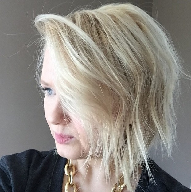 Trendy bob hairstyle with bangs for fine thin hair
