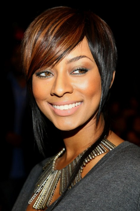 Highlighted short black haircut for straight hair
