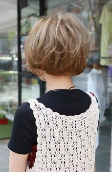 Rear view of short Korean hairstyle