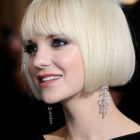 Short dull white bob hairstyle
