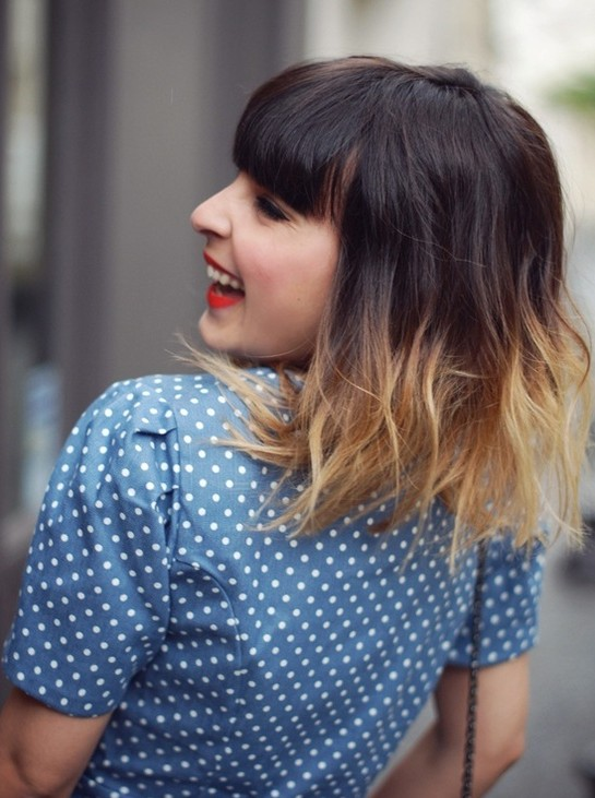 Mid-length ombre bob cut with a blunt pony