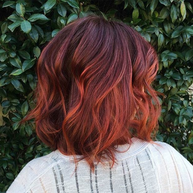 Red Ombre Bob Hairstyle Rear View