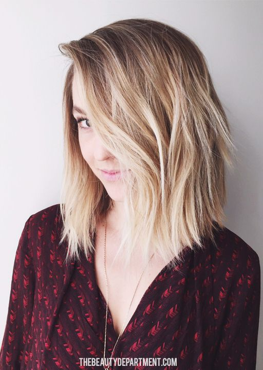 brunette to blond ombre bob hairstyle with layers