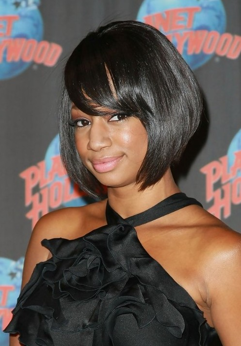 Short Black Bob Hairstyle with Side Swept Pony