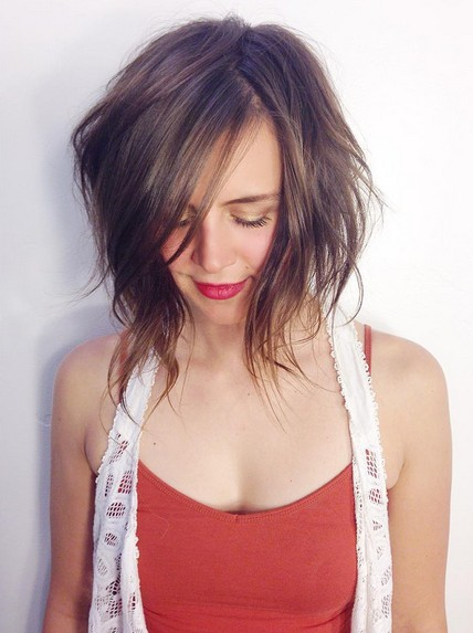 messy bob hairstyle with bangs for shoulder-length hair