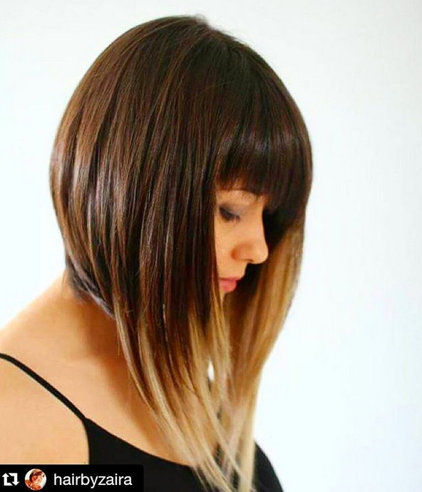 Medium sized ombre bob hairstyle with bangs