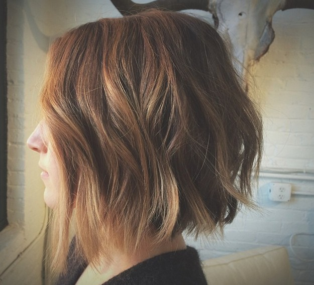 textured chopped off bob haircut with waves
