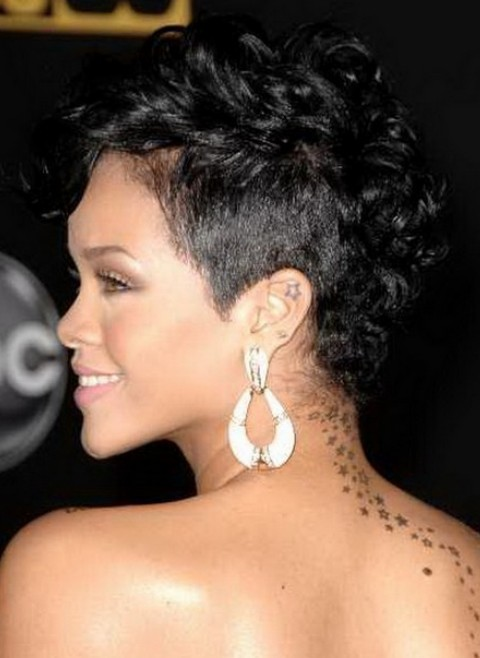 Short black curly hairstyle